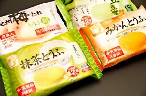 紀州梅たれ,えだ豆豆富,抹茶とうふ,みかんとうふ,